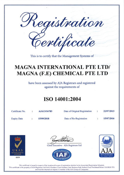 MAGNA INTERNATIONAL PTE LTD/MAGNA(FE) CHEMICAL PTE LTD